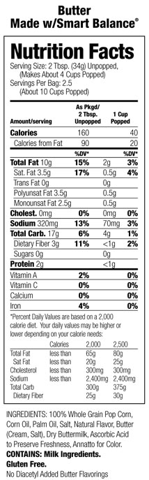 Orville Er Popcorn Nutrition Facts Photos